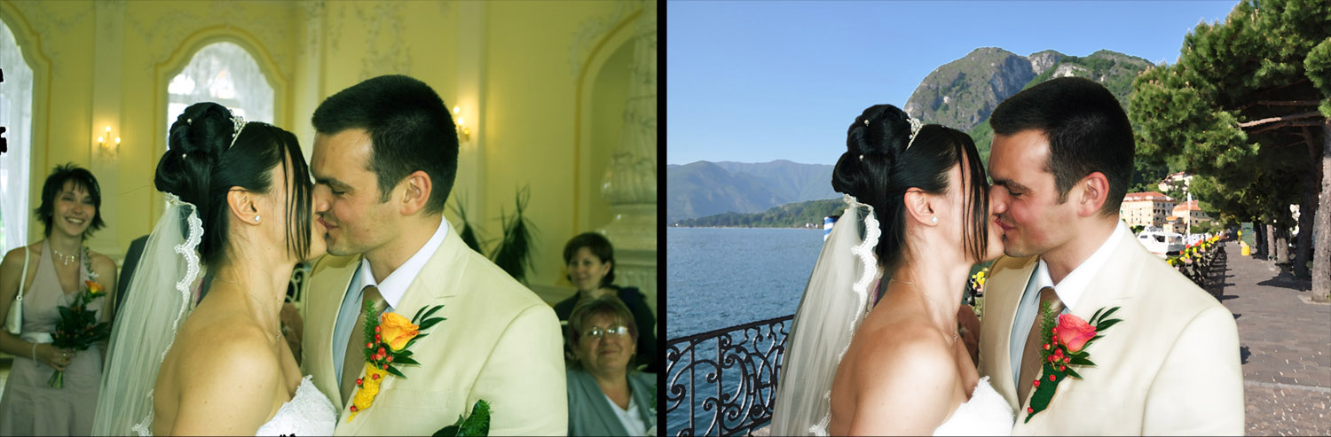 Wedding picture, before and after