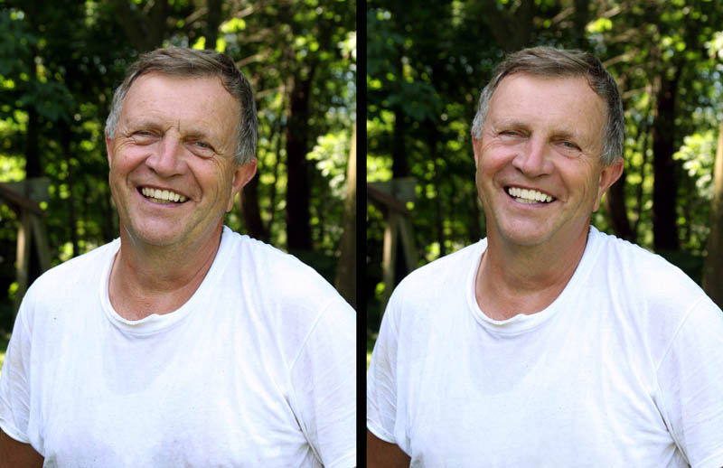 Natural retouching before-and-after image (man)