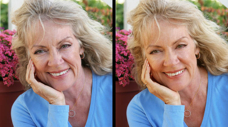 Natural retouching before-and-after image (woman)