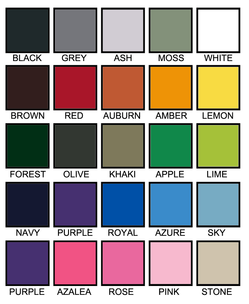 T shirt color chart A