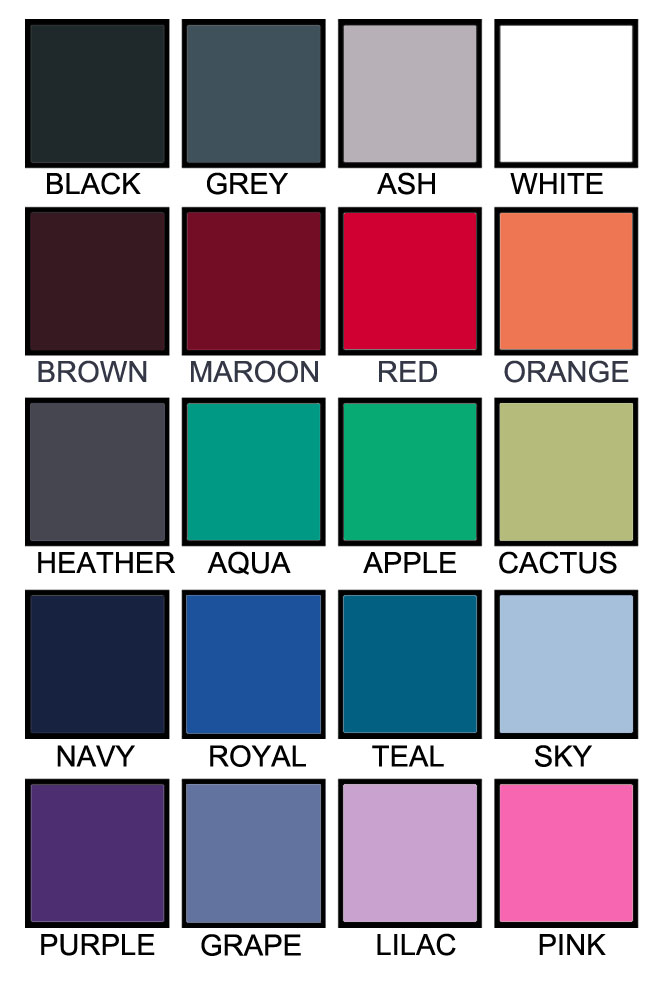 T shirt color chart C