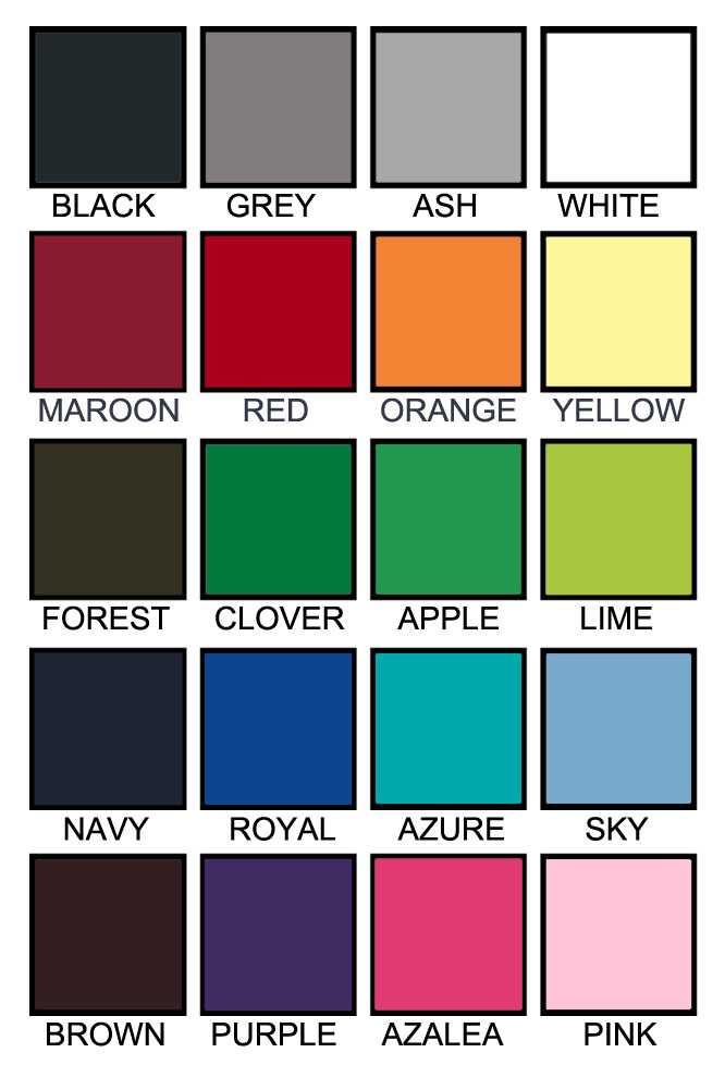 T shirt color chart D