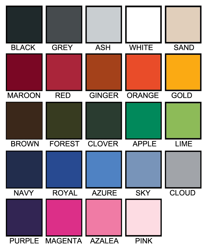 T shirt color chart E
