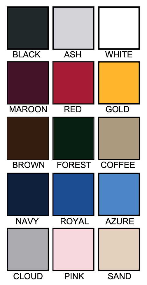 T shirt color chart F