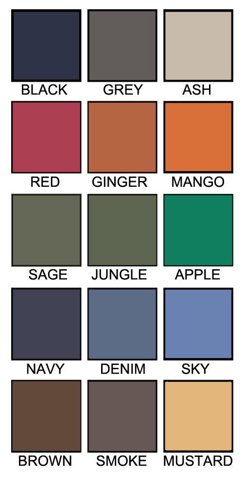 T shirt color chart H